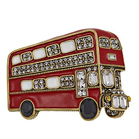 "Heidi Daus ""Double Decker Brilliance"" Enamel and Crystal Pin"