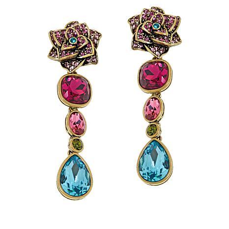 "Heidi Daus ""Dripping with Gems"" Floral Dangle Earrings"