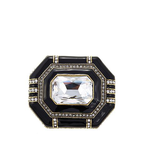 "Heidi Daus ""Elegant Encore"" Enamel and Crystal Pin"