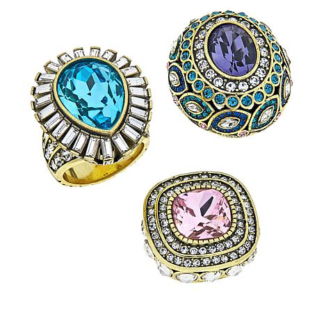 "Heidi Daus ""Enchante"" Interchangeable 3-piece Ring Set"