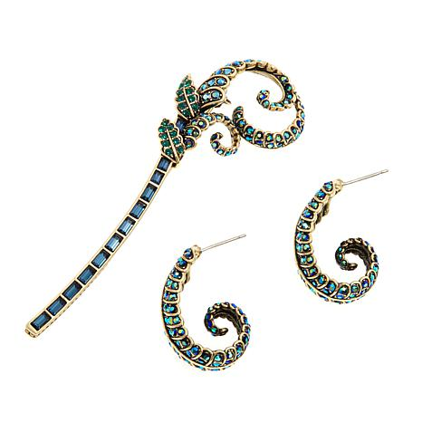 "Heidi Daus ""Enchanting"" Crystal Earrings and Pin Set"