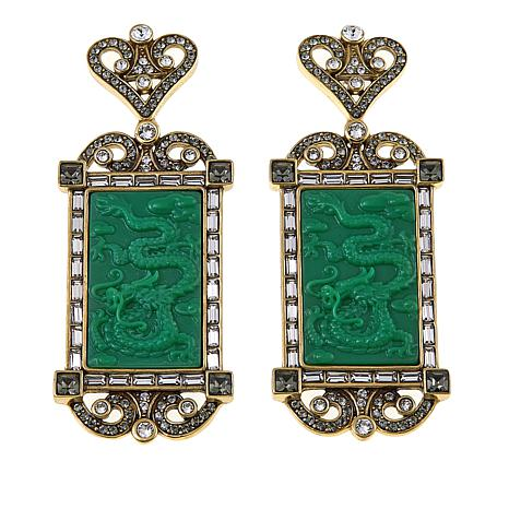 """Heidi Daus """"Exotique Chinoiserie"""" Carved Crystal Drop Earrings"""