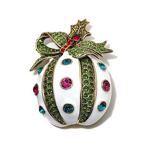 "Heidi Daus ""Holly Jolly"" Crystal and Enamel Pin"
