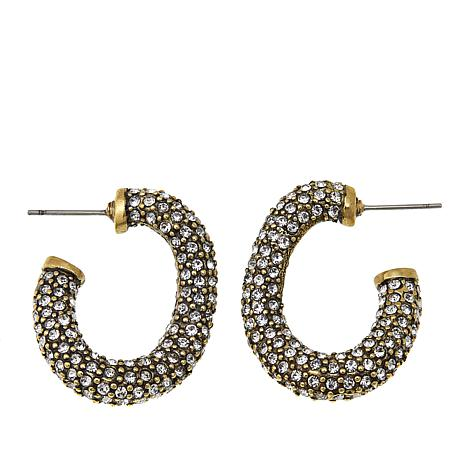 Heidi Daus Lovely Links Pavé Crystal Hoop Earrings