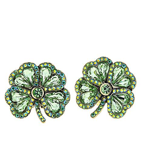 """Heidi Daus """"Lucky Day"""" Four Leaf Clover Crystal Earrings"""