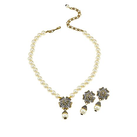 """Heidi Daus """"Pretty Posey"""" Beaded Necklace and Earrings Set"""