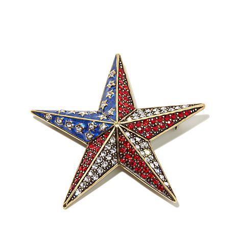 "Heidi Daus ""Star Sparkle"" Crystal and Enamel Pin"