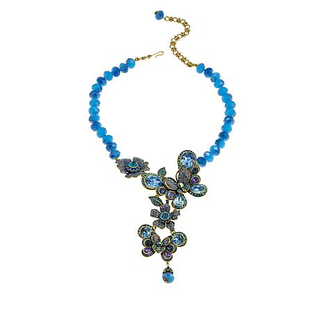 """Heidi Daus """"The Dance of the Butterflies"""" Beaded Crystal Drop Necklace"""