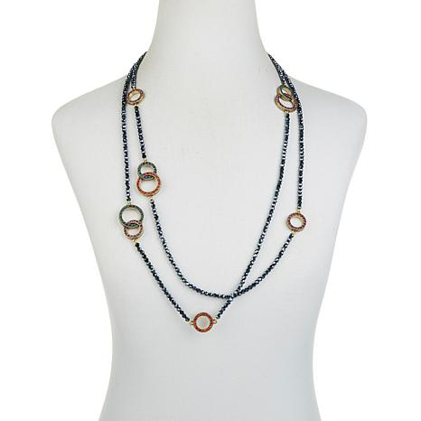 """HEIDI DAUS /""""THE LONG AND SHORT OF IT/""""  BEADED CRYSTAL 65/"""" NECKLACE HSN $99.95"""