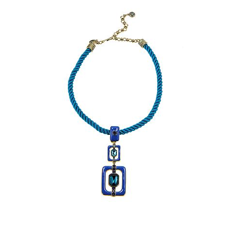 """Heidi Daus """"Thoroughly Modern"""" Enhancer Pendant with Cord Necklace"""