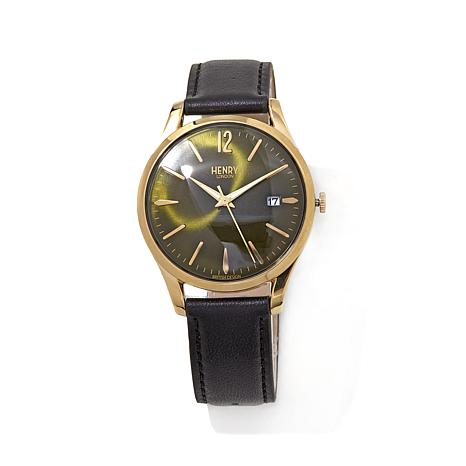 "Henry London ""Chiswick"" Green Dial Black Strap Watch"
