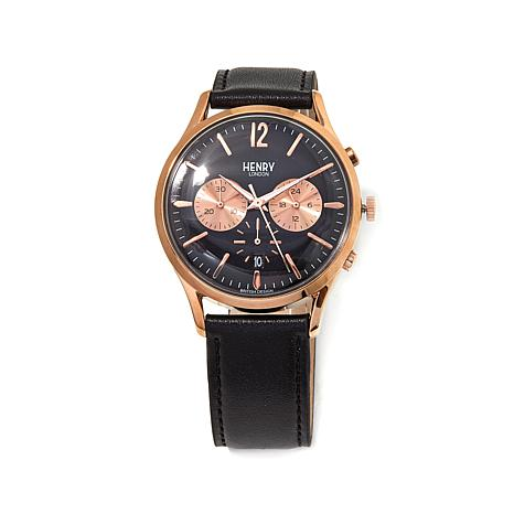 Henry London Knightsbridge Rosetone Black Dial Watch