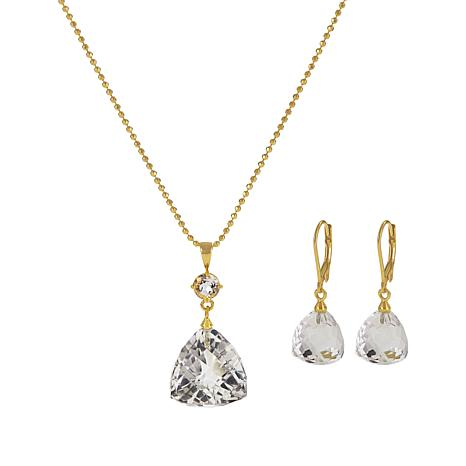 "Herkimer Mines ""Diamond"" Quartz 51.65ctw Faceted Pendant and Earrings"