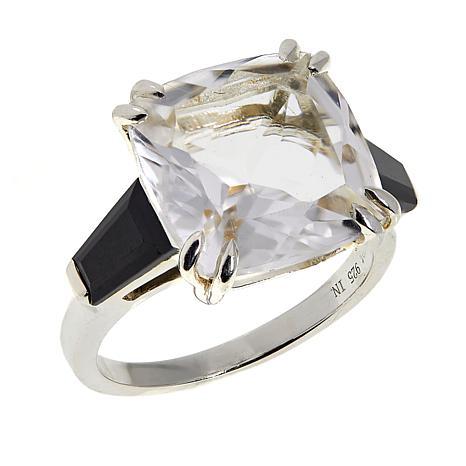 "Herkimer Mines ""Diamond"" Quartz and Black Spinel Three-Stone Ring"