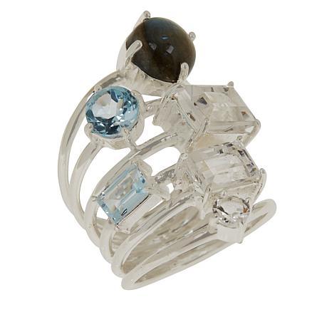 "Herkimer Mines ""Diamond"" Quartz and Multi-Gem Multi-Row Ring"