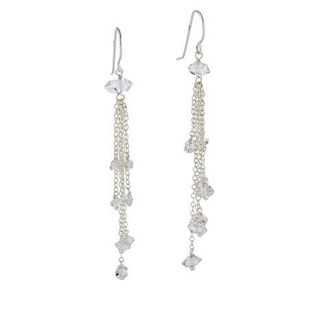 "Herkimer Mines ""Diamond"" Quartz Chain-Link Drop Earrings"
