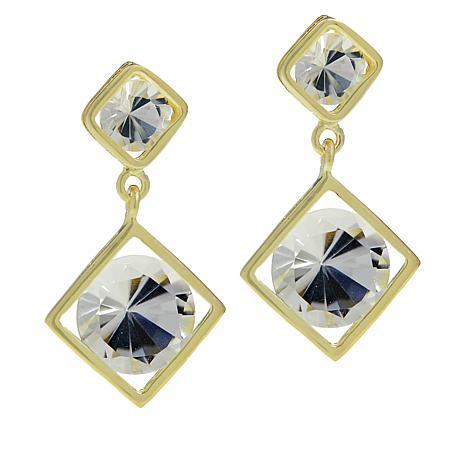 "Herkimer Mines ""Diamond"" Quartz Double Drop Round Earrings"