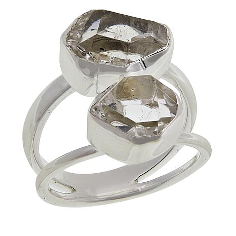 "Herkimer Mines ""Diamond"" Quartz ""Royalty"" 2-Stone Freeform Ring"