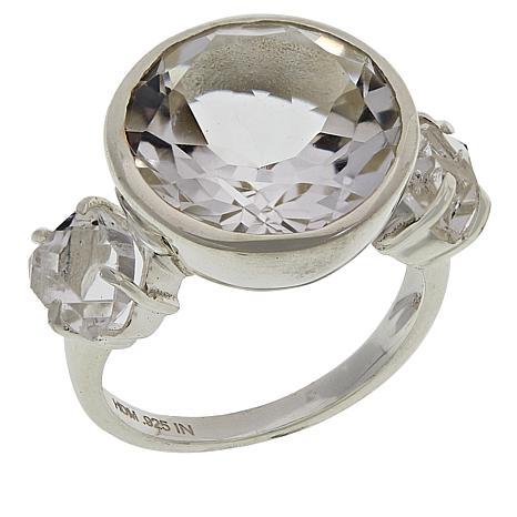 "Herkimer Mines Sterling Silver Round 3-Stone ""Diamond"" Quartz Ring"