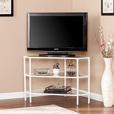 Hertik Metal/Glass Corner TV Stand - White