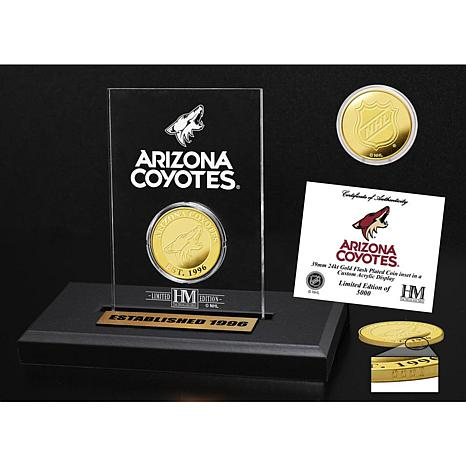 Highland Mint Phoenix Coyotes Gold Coin Etched Acrylic