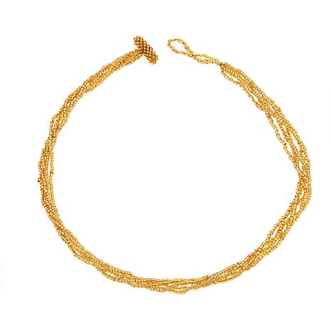 Himalayan Gems™ 5-Strand Goldtone Potay Bead Necklace