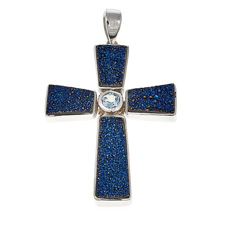 Himalayan Gems™ Blue Drusy and Blue Topaz Cross Pendant