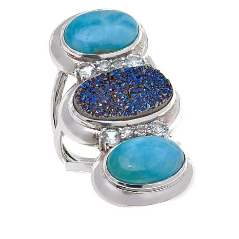 Himalayan Gems™ Blue Drusy, Larimar and Blue Topaz Ring