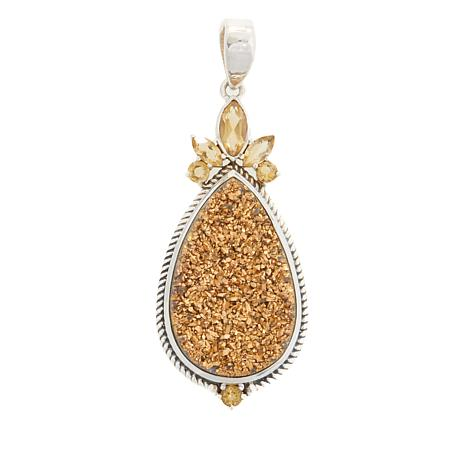 Himalayan Gems™ Goldtone Drusy and Citrine Pendant