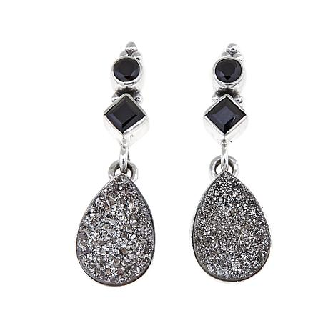 Himalayan Gems Gray Drusy And Black Spinel Earrings