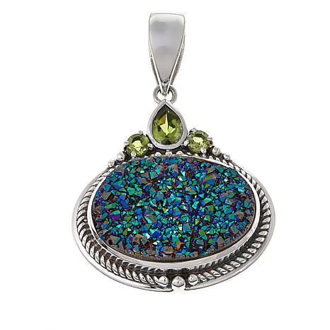 Himalayan Gems™ Green Drusy and Peridot Oval Pendant