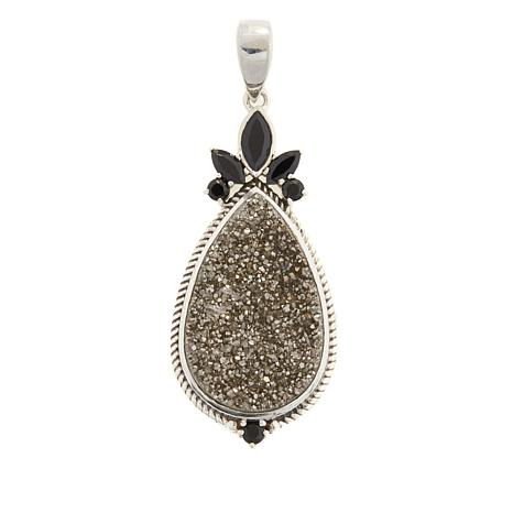 Himalayan Gems™ Platinum-Tone Drusy and Spinel Pendant