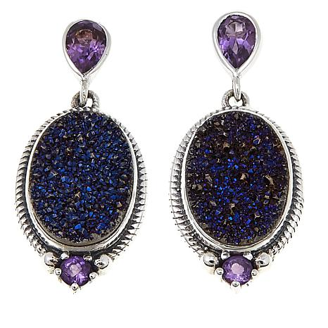 Himalayan Gems Purple Drusy And Amethyst Oval Earrings