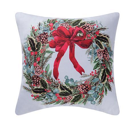 Holly Berry Wreath Indoor  Outdoor Pillow