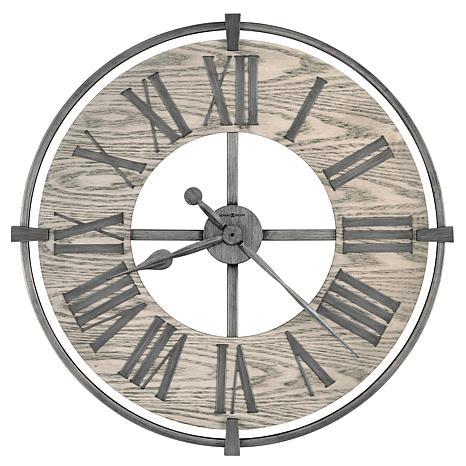 """Howard Miller """"Eli"""" Warm Grey Metal And Wood Wall Clock"""