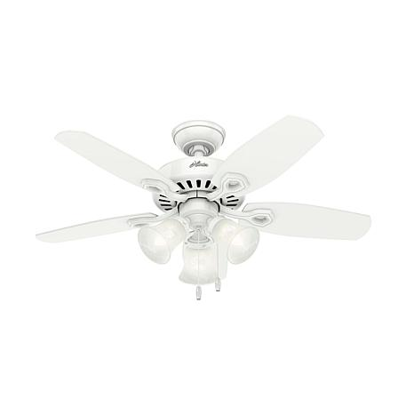 """Hunter 42"""" Builder Snow White Ceiling Fan with 3 Lights and Pull Chain"""