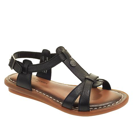 Hush Puppies Olive Leather T-Strap Sandal