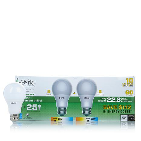 I Brite 60 Watt Equivalent Led Light Bulb 10 Pack 5 Soft Warm 1837115 Hsn