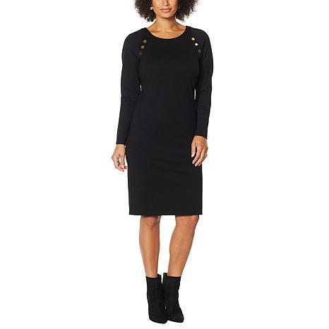 IMAN Global Chic Fitted Ponte Dress with Button Detail