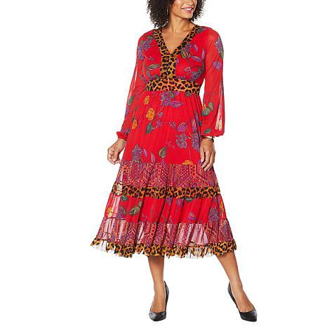 IMAN Global Chic Long-Sleeve Mesh Midi Dress