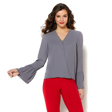 IMAN Global Chic Luxurious Crossover Bell-Sleeve Top