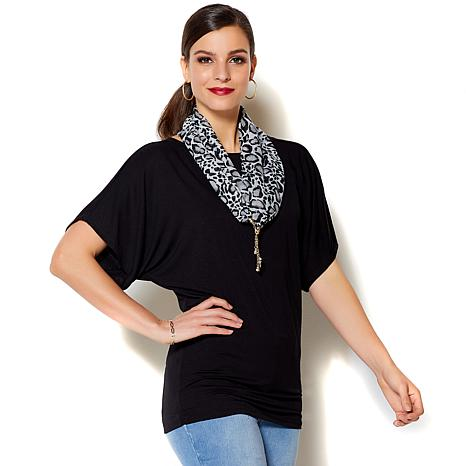 IMAN Global Chic Luxury Resort Top with Scarf Set