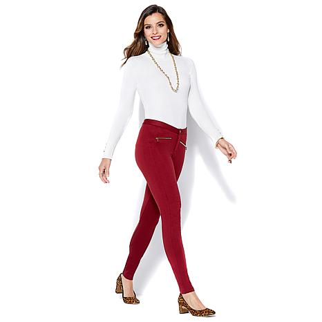 IMAN Global Chic Power Ponte Ankle Pant with Illusion Seaming