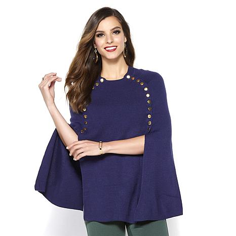 IMAN Global Chic Touch of Gold Knit Draped Luxe Poncho
