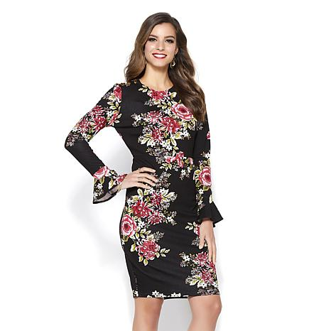 IMAN Global Chic Touch of Gold Power Ponte Bell-Sleeve Dress - 8768199  a57b98ed0