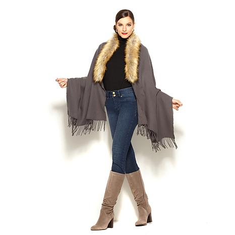 IMAN Platinum Fringe and Faux Fur Dramatic Wrap
