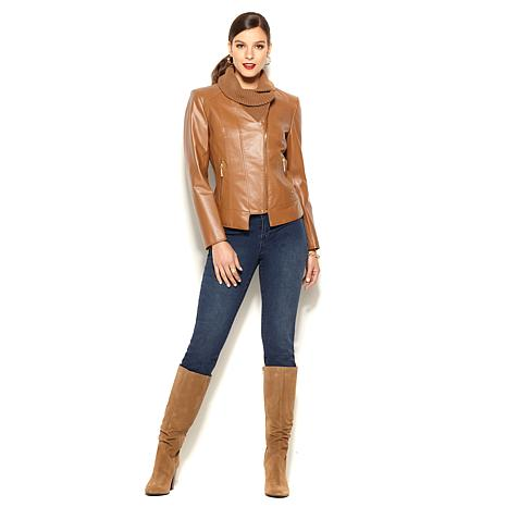 IMAN Platinum Leather and Knit Luxury City Moto Jacket
