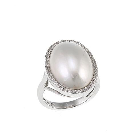 Imperial Pearls 13x18mm Cultured Freshwater Mabé Pearl Oval Ring
