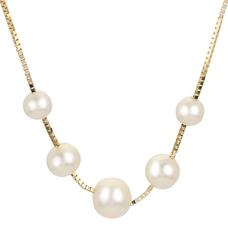 """Imperial Pearls 18"""" 14K Cultured Freshwater Pearl Station Necklace"""