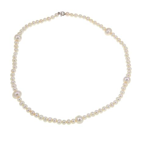 "Imperial Pearls 20"" White Cultured Pearl Station Necklace"